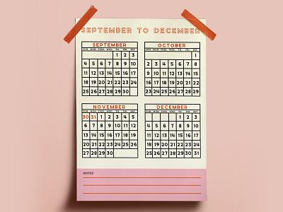 Calendar date pink and orange pink print design wall calendar nashville 2017 2016 calendar