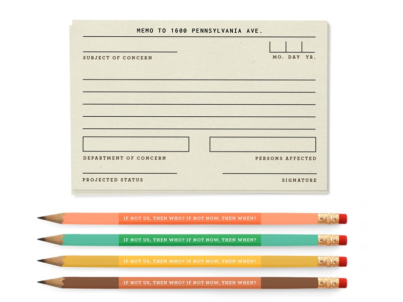 Stationary for the resistance inconsolata pink and green protest activism resistance memo postcards notecards pencils pencil stationary