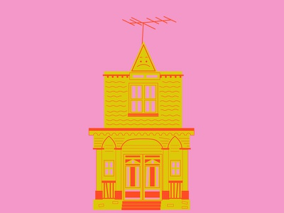 The Munsters' House scary illustration pink and green spooky addams family halloween haunted house munsters