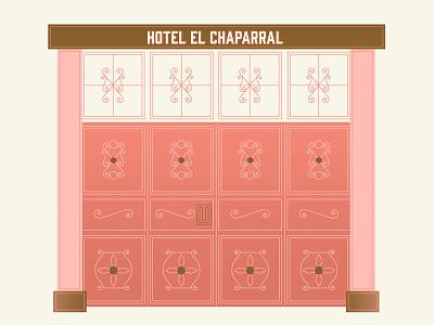 Guatemalan Hotel Door feminine design swirls gin gin font blush pink pink and gold guatemala wes anderson illustration hotel