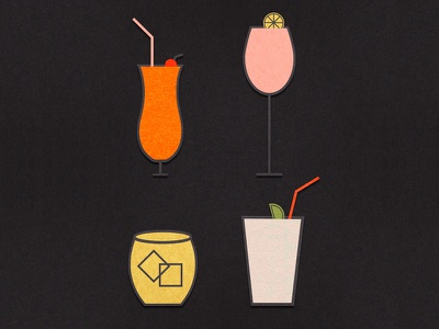 Happy Hour drink ice tiki illustration paper construction paper nashville cocktail mad men whiskey drinks cocktails happy hour