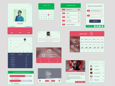 Colored UI Kit In Flat Design flat ui kit profile calendar mail box sign in graph weather friends player download uxui design