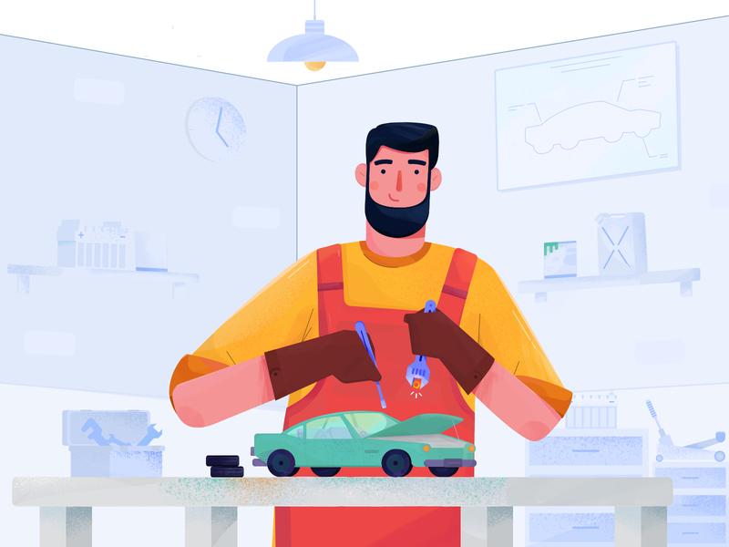 Mekanik Illustration workshop garage technician car automotive illustration mechanic