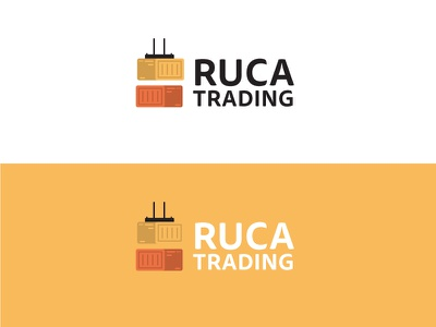 Ruca Trading port containers logistics trading ident logo illustrator