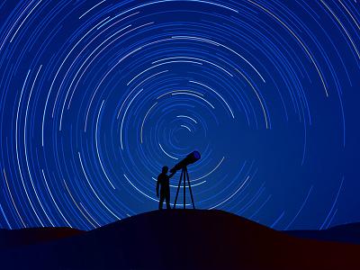 Fermi Paradox animation still moody alone aliens eye timelapse vector illustrator character man blue sky night light stars telescope explainer video illustration after effects space