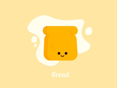 Bread yellow simple food face flat vector bread character