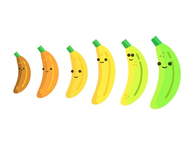 Which nana would you choose? yellow ripe color fun playful face flat vector illustrator fruit design illustration banana