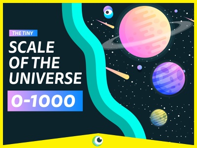 SCALE OF THE UNIVERSE ae motion animated gif flat vector after effects color colour youtube animation flat vector planets stars universe scale space