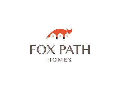 Fox Path Homes coywolf coyote wolf dog brandmark identity logo path forest animal builder homes home house fox