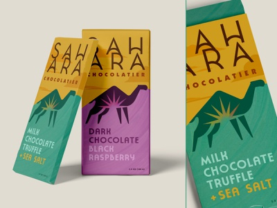Sahara Chocolate Packaging animal camels packaging design packaging packagingdesign chocolatier chocolate middleeast arabian camel desert sahara typography