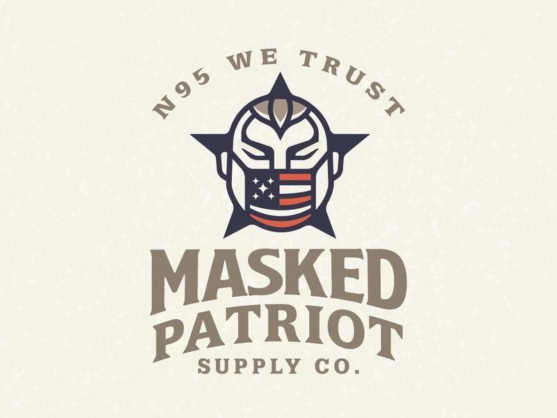 Masked Patriot poster n95 american usa stars badge logodesign logos logo flag patriot covid covid19 masks mask