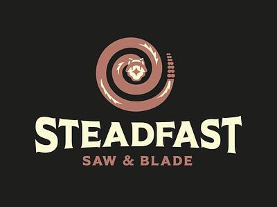 STEADFAST vintage typography rattler desert serpent cobra logodesign logos logo spiral coil rattlesnake snake blade saw steadfast