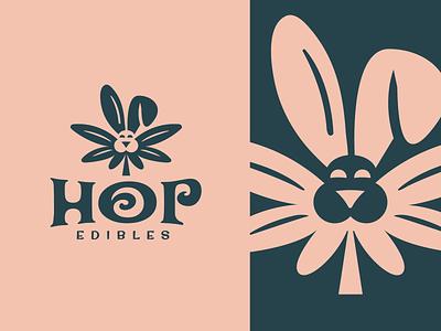 Hop Edibles Brand Mark leaf illustration badge emblem mascot logodesign logo design typography logotype animall brandmark logos logo marijuanaleaf marijuana cannabis bunny negative space rabbit edibles