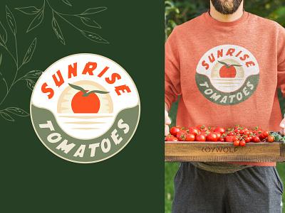Sunrise Tomatoes Branding leaf branding logodesigns bird logotype farm logo farmer farm illustrator logodesigner logos logo logodesign graphic design badge tomatoes tomato sunrise illustration brandmark