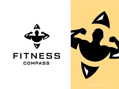Fitness Compass Logo Design gym logo gymlogo identity logodesign logotype brandmark body compass health logo design logos logo strength strong flex muscle bodybuilder gym fitness
