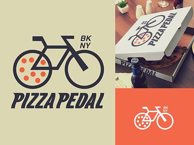 Pie and Pedal combo logo bike illustration new york newyork typography logotype brandmark restaurant logo restaurant pizza logo identity brandidentity branding logodesigns logodesign logos logo