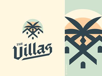 The Villas Logotype summer branding resort condo hotel beach coastal villa villas real estate palm tree palm trees palmtree identity logodesign graphic design custom font typography logos logo