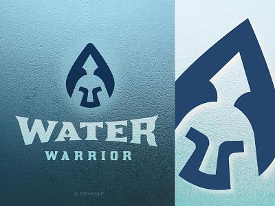 Water Warrior Identity plumber water waterproof logotype brandmark soldier trojan spartan helmet warrior droplet water drop water icon logodesign logos logo branding identity