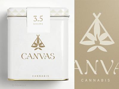 CANVAS cannabis logo cbd hemp weed label container packaging branding identity logo design logodesign leaf logos logo canvas native indian teepee tribal cannabis cannabis leaf