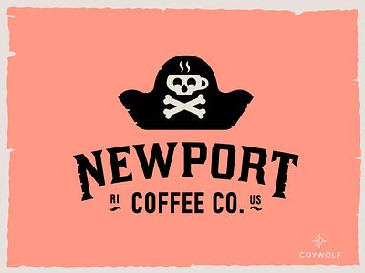 NEWPORT COFFEE logo mug illustration badge design logoty[e pirate pirateship skull and crossbones skulls skull pirate ship typography brandmark identity logo design logodesign logos logo branding cafe coffee