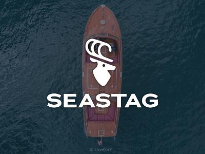 Seastag Yacht Logo antlers crest shield minimalist animal illustration logo design water waves wave buck deer emblem branding brandmark identity logodesign logos logo yacht