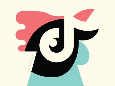 TikTok Rooster social media morning logo designer infographic branding illustrator negative space logo vector chicken tiktok farm rooster illustration