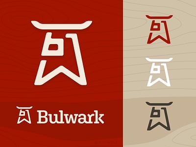 BULWARK lumber identity lettering monogram strength strong horns logotype brandmark logo design logodesign logos logo branding identity bull wood lumber