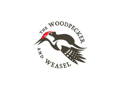 Woodpecker & Weasel peckerweasel weaselpecker woodpecker weasel logo logos logo design animal logos