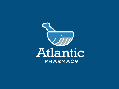 Atlantic Pharmacy Logo simple line vector illustration pharmaceutical pharmacy mortar and pestle whale logo design logos logo