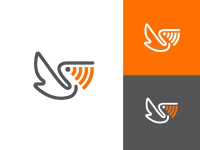 Pelican Telecom concept signal icon logo design logos logo wifi voip broadcast bird pelican