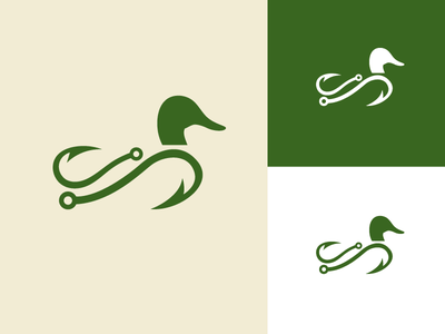 Hook and Hunter mallard identity icon logo duck fishing hook nature outdoors
