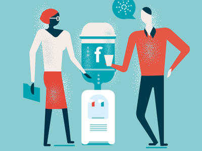 Facebook watercooler lifestyle illustration sharing voice discussion social media talking watercooler facebook