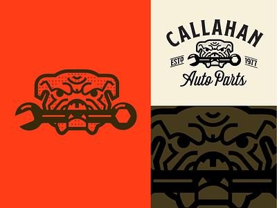 Callahan Auto Parts logo retro icon bulldog tools service repair automotive autoparts callahan tommyboy