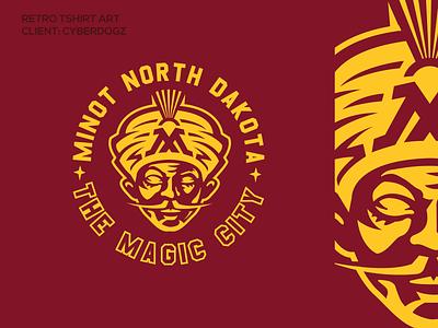 minot ND art logos magic sports collegiate poster illustration crest seal logo retro tshirt