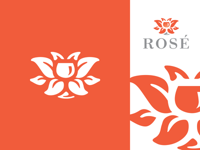 rosewineD brandmark identity negative space logos logo vineyard winery glass wine rose