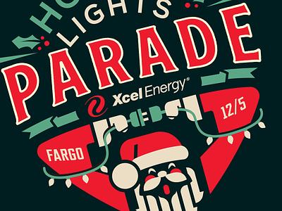 Holiday Lights Parade illustration parade parade logo christmas lights lights retro vintage santa logos logo