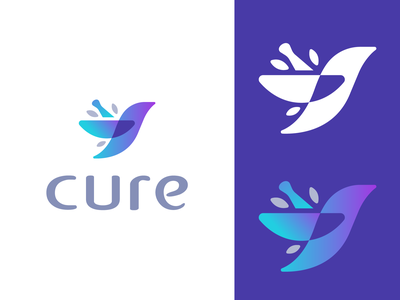 cure bird cannabis extract cbd identity medical emblem icon logos logo leaf leaves tincture mortar and pestle birds bird cure