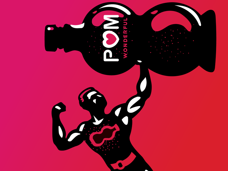 Mr. Wonderful strongman muscles vintage illustration beverage health gym fitness excercise pomegranate pom