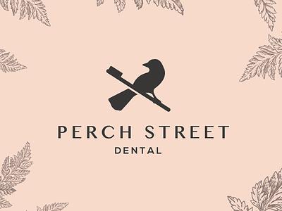 Perch Street Dental Logo logotype dental brandmark logoa logo dentist logo illustration finch toothbrush birds bird canary