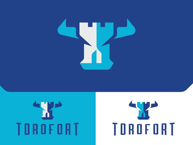 Torofort Logo saas cybersecurity defense rampart castle branding identity brandmark emblem icon bull bulls bull logo security logo logo design logo security