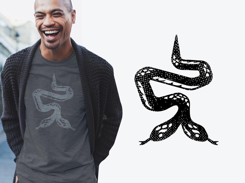 Two-Headed Snake Graphics nature handmade distressed retro vintage brandmark emblem icon logo tee tshirt shirt print screenprint reptile serpent snakes snake
