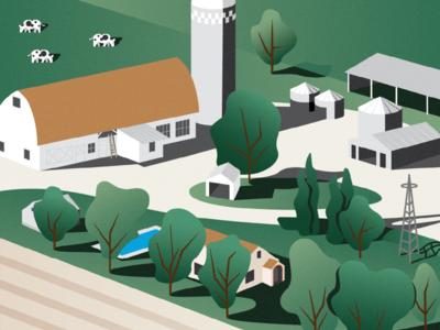 Farm shadow poster gradient farm illustration