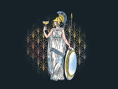 Art Deco Night branding sketch coupe procreate art deco parthenon athena cocktail nashville illustration