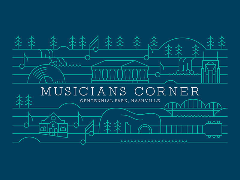 Musicians Corner trees music notes guitar record signage outdoor concert stage banners music nashville lines illustration