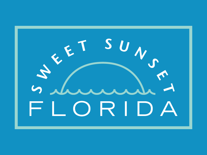 Very Sweet modern ocean sun sunrise logotype logo lines florida branding art deco