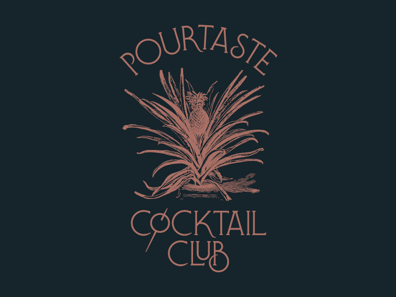 PourTaste art nouveau pineapple olive drink cocktails lettering typography shirt pourtaste