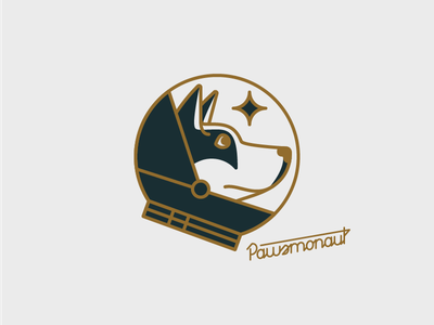 Pawsmonaut dog illustration husky space lines type typography helmet star astronaut pup