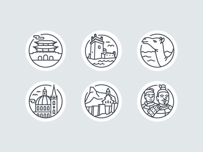 BIT2018 Icons lonely planet china georgia malta djibouti portugal south korea icon design line art iconography illustration icons