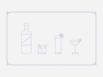Cocktails menu design line art mono weight glass whiskey collins coupe illustration line gin cocktails drinks
