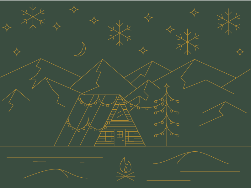 A Frame Xmas camp mountains cabin snow thin line holiday xmas christmas poster illustration